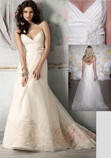 Plus size wedding dresses with purple trimline