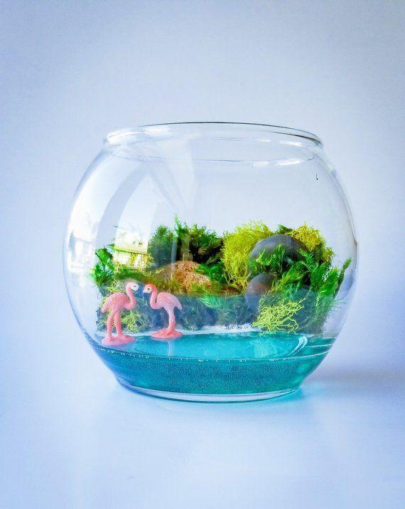 Ocean Scene Bowl Terrarium With Preserved Moss Miniature Flamingos
