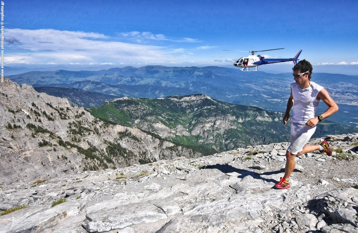 """Killian. The ultimate trail runner. Here is his attempt for the project """"Killian's Quest"""" on Olympus mountain supporter from Salomon."""