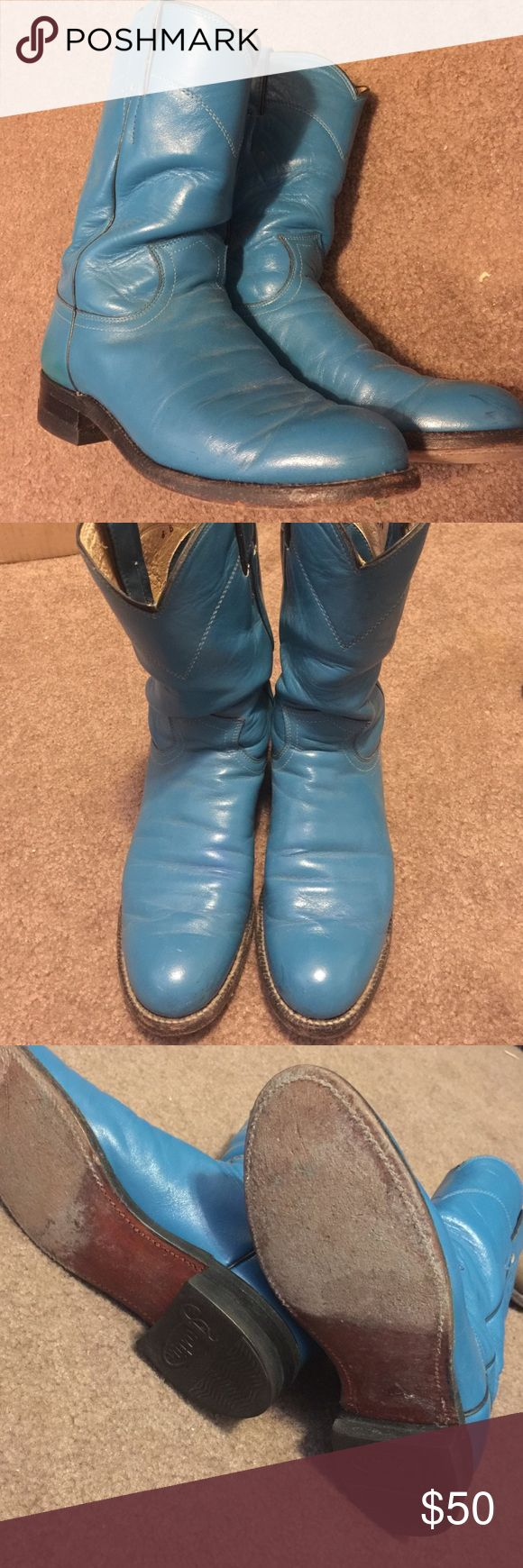 Turquoise Justin Roper Boots Turquoise Justin Roper Boots.  Great condition.  A few scuffs.  Soles are in good condition. Justin Boots Shoes