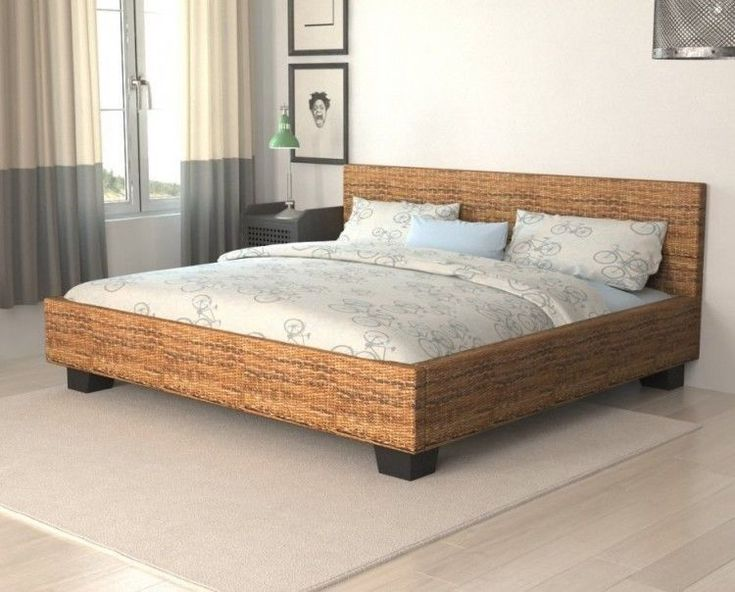 Rattan Double Bed Frame Wooden Bedroom Furniture Handwoven Guest Room Adult Home