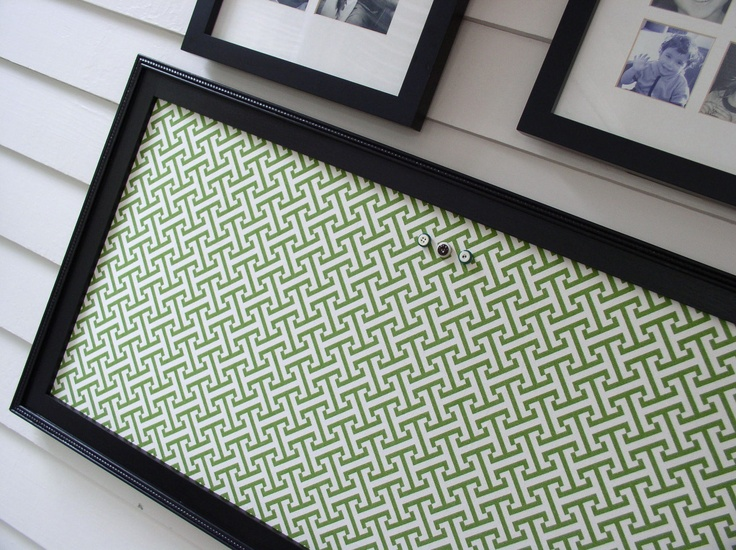 Bulletin Board - Black and Green Magnetic Framed Magnet Board in Bold Geometric Fabric - via Etsy.