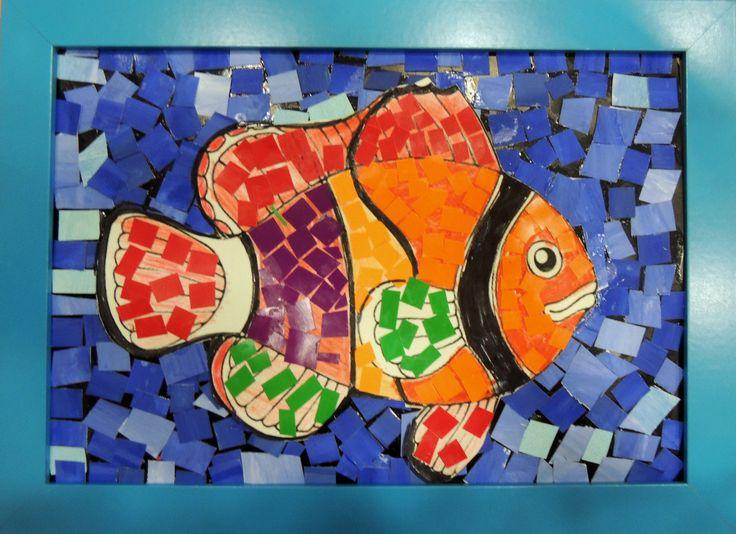 Мозаика из бумаги. Тропические рыбы.