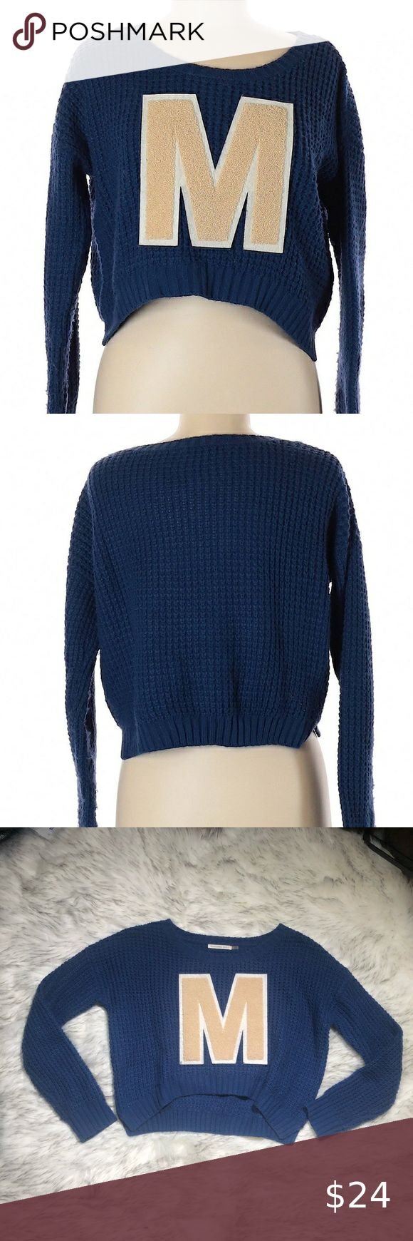 Mustard Seed Nordstrom Letter M Cropped Sweater • Mustard