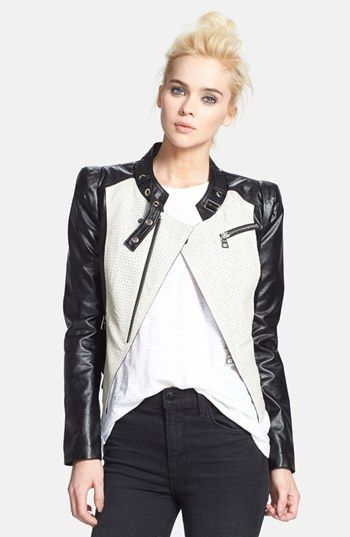 { Perforates Two-Tone Faux Leather Jacket }