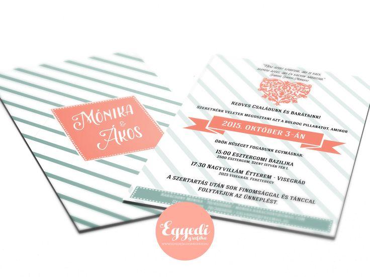 Kreatív zöld és korall színű vintage esküvői meghívó   Wedding invitation card with green and coral colors