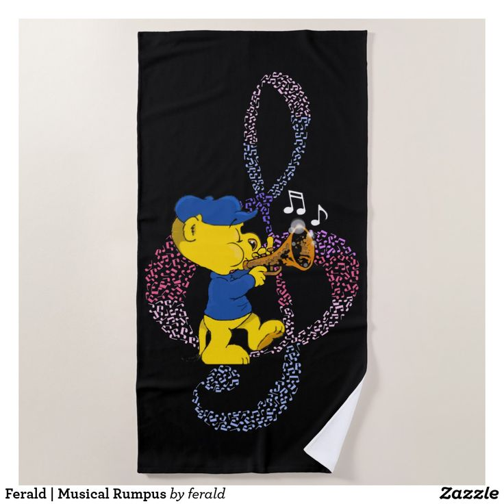 Ferald | Musical Rumpus Beach Towel  #towel #towels #beach #beachtowel #beachtowels #beachlife #cartoons #cartoon #kids #children #cute #music #jazz #musicnotes #trumpet #trumpets #ferret #ferrets