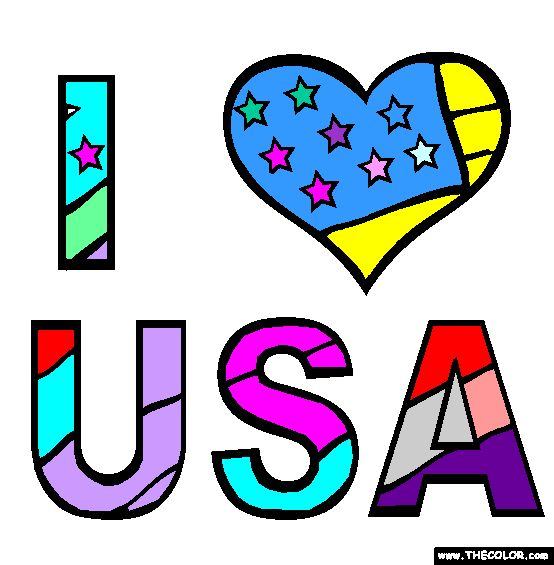 23 best color images on pinterest coloring sheets for I love usa coloring pages