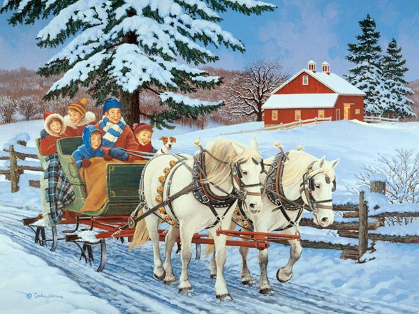 Family Sleigh Ride JohnSloaneArt.com - John Sloane - Gallery - Horsepower