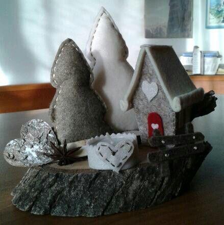 Alberi e casetta. Natale feltro - by Luisa Valent