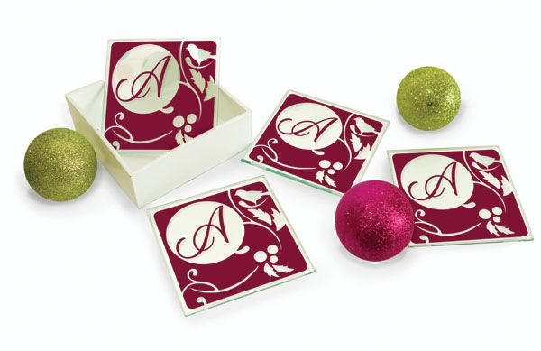 Personalized coasters from Simply Said Designs.  http://simplysaiddesigns.com/images/SalesToolsExtras/FallWinterShoppingGuide_2013.pdf
