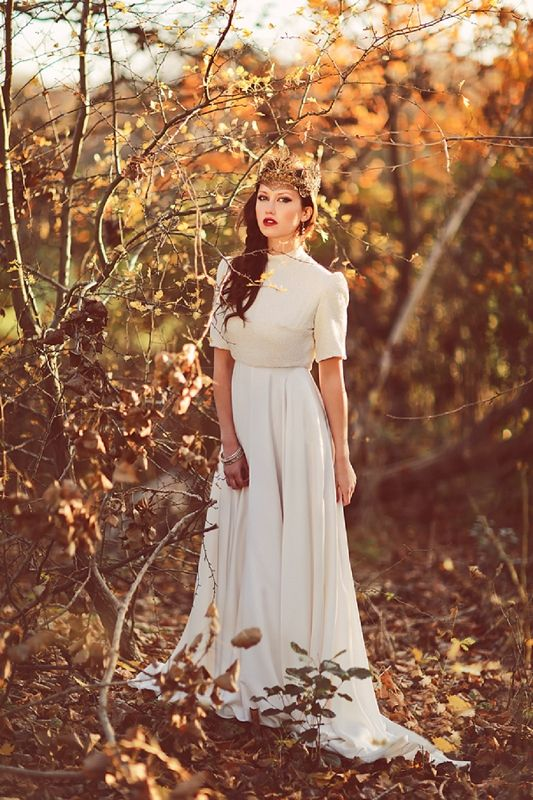 Fantasy autumn bride | photography by www.sanshinephotography.com  Bridal gown by www.charlottegarratt.co.uk