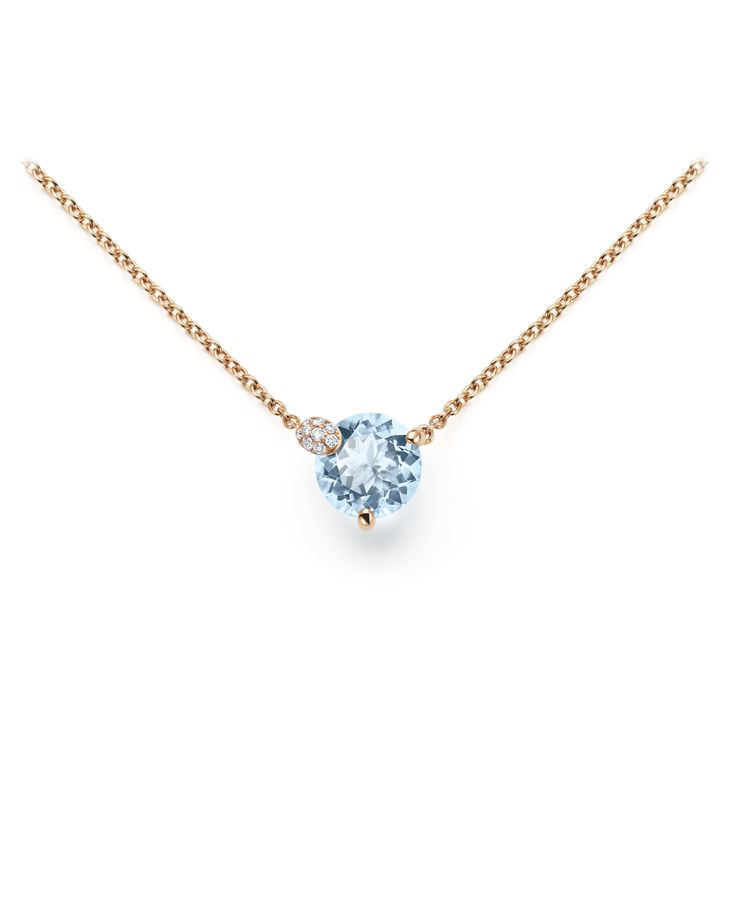 Necklace - 18K rose gold, aquamarine round cut total 1.8 ct., 10 diamonds brilliant cut total 0.04 ct  #Bucherer #Peekaboo #finejewellery