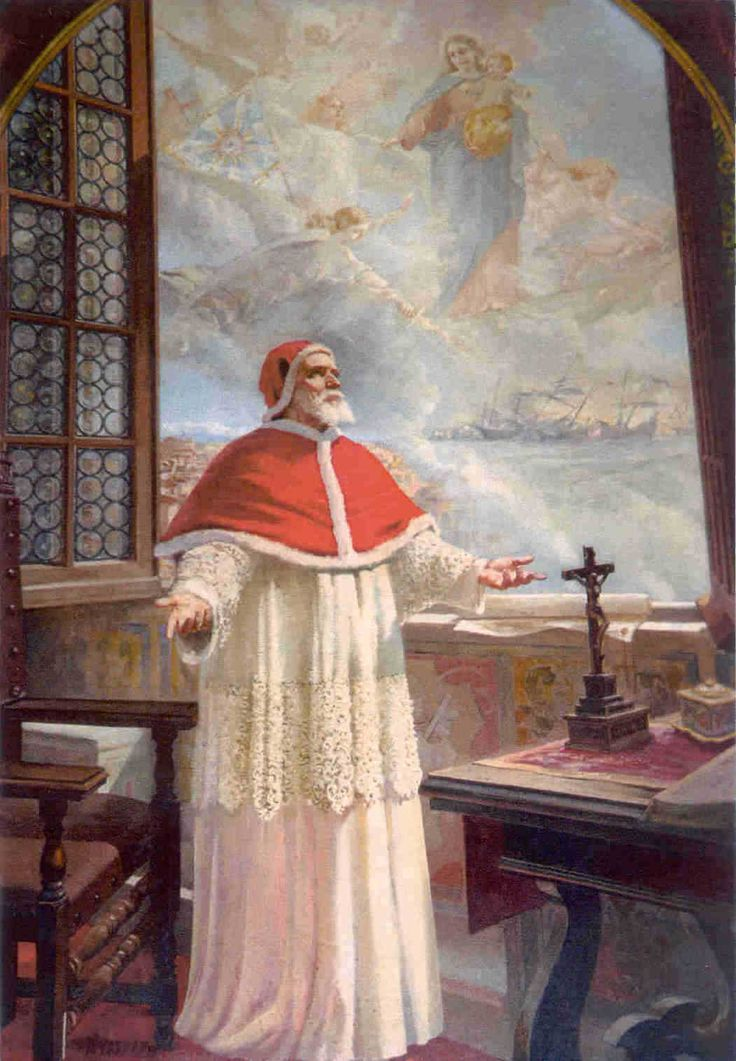 """Battle of Lepanto 1571...Back in Rome, Pope Pius V knew of the victory before a message could possibly have reached him by human means. During a meeting with his treasurer on October 7th, the saintly pope suddenly rose up and gazed out the window, saying """"This is not a moment for business; make haste to thank God, because our fleet this moment has won a victory over the Turks.""""...Pope Pius V gave credit to the Virgin Mary by declaring October 7th the Feast of Our Lady of Victory."""