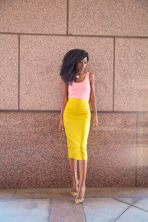 Working in Los Angeles? Beware the summer heat waves that can climb well above the 90s. Keep your look professional (even if you feel like you're melting) with a simple sleeveless blouse and midi length pencil skirt. Also, avoid wearing black at all costs. Bright and light colors help you keep your cool.
