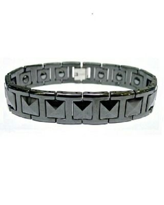 "Faceted Black Tungsten Ceramic Magnetic Bracelet Gelang Pria Kesehatan  Size: 16-20cm  14mm cantumkan size pada saat pemesanan 16cm / 17cm / 18cm / 19cm / 20cm Can be resized as easily as a watch band by your local jeweler if needed.  Specifications: Type: Bracelet Hand Chain Style: Unique Fashion Cool Material: Magnetic & Tungsten Color: Black  Tungsten berasal dari bahasa swedia (from the Swedish tung sten ""heavy stone""). Material langka dan berkualitas tinggi yang dapat berfungsi menahan…"