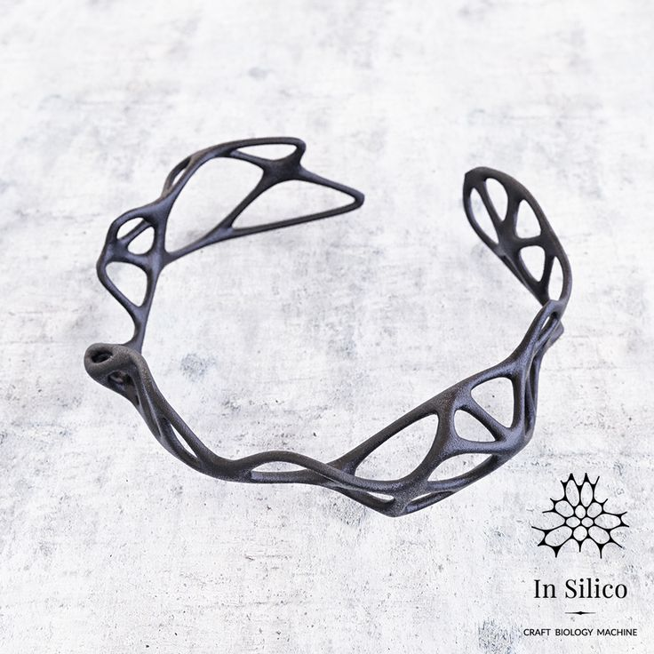 'Phenotype' bracelet. Bone structure inspiration, 3d printing, black steel. More info on our site: insilico.pl #minimal #3dprint #jewelry #generativedesign #design #bracelet
