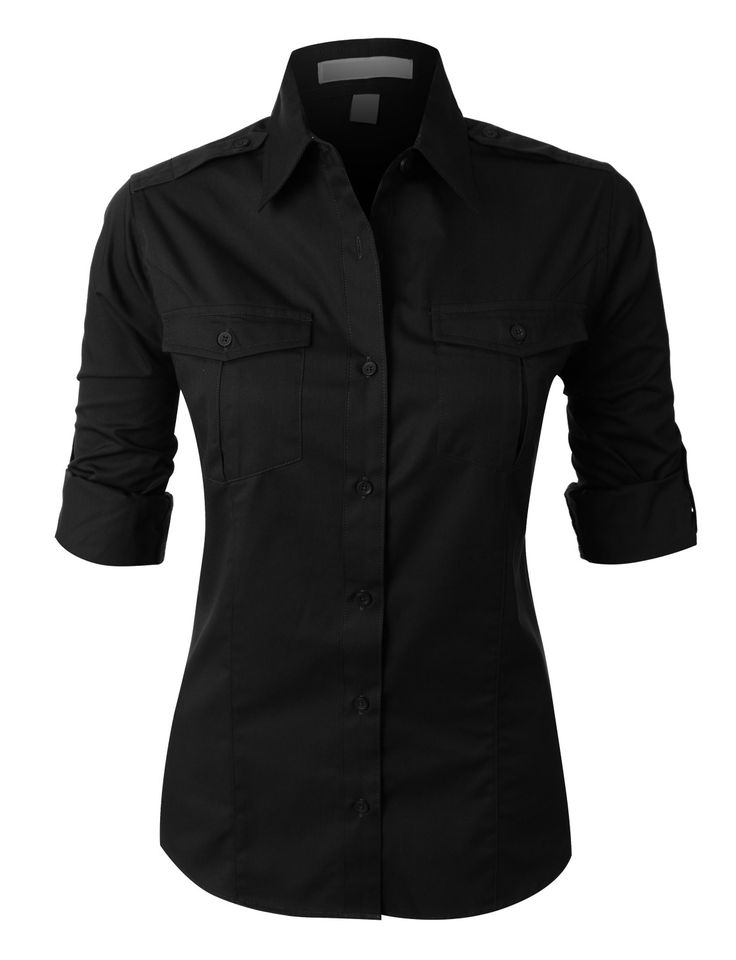 Womens Black Button Up Blouse