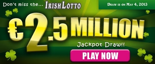 Irish Lotto Draw: EU 2.5M Jackpot on May 4    There was NO jackpot winner in the May 1 Irish Lotto draw. The winning numbers were 16-21-22-26-33-35 and Bonus Ball 45. The Irish Lotto Jackpot on Saturday, May 4 is an estimated EU 2.5M.  Play the Irish Lotto now!    Play here: http://www.OSALottos.com/iradn