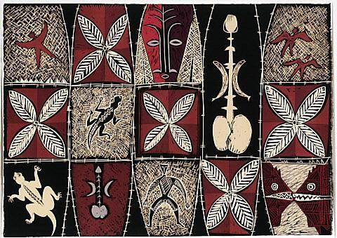 Fatu Feu'u Talosaga pouli: Ancient worship of the black lizard by night. Woodcut. 2001