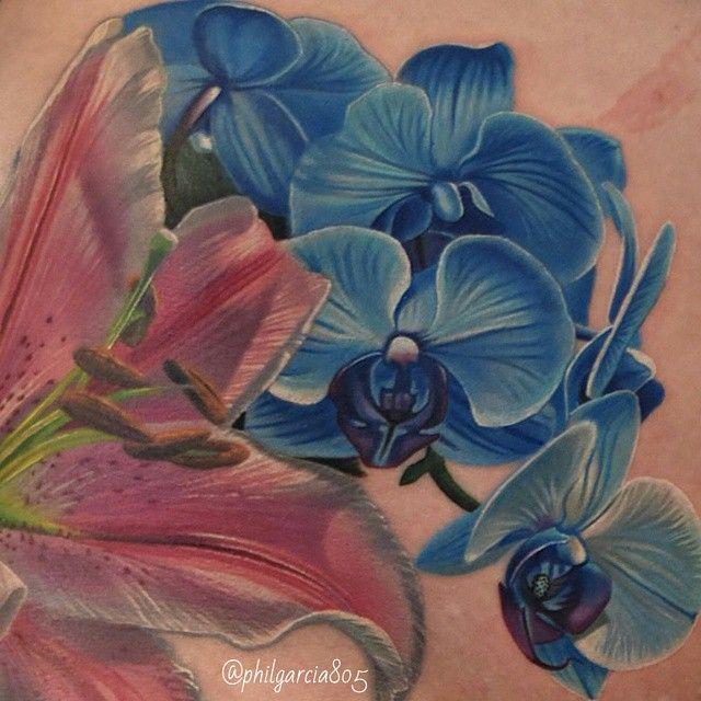 dessin d 39 orchid es bleus en tattoo. Black Bedroom Furniture Sets. Home Design Ideas