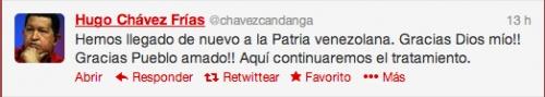 El presidente de #Venezuela, Hugo #Chávez Frías, ha publicado atraves de la red social #Twitter, que ha regresado a su ciudad natal y que ahí continuará su tratamiento #médico. Mes después de haber permanecido en la #Habbana, donde fué operado por el #tumor.