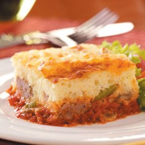 Upside-Down Pizza Bake Recipe- Recipes  This super easy, but exceptionally delicious, recipe is one I've been preparing and serving to my children and now to my grandchildren for over 30 years! —Sandy Bastian, Tinley Park, Illinois