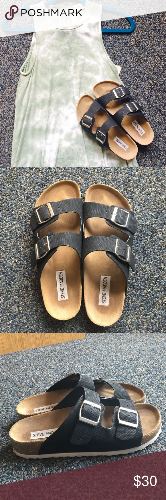 Steve Madden Birkenstocks Birkenstock style by Steve Madden. Only worn a handful of times so in great condition! NOTE: THIS ITEM CAN ONLY BE BUNDLED WITH OTHER ITEMS WITH A RED DOT AS IT IS AT A DIFFERENT LOCATION. Sorry for the inconvenience Steve Madden Shoes Sandals