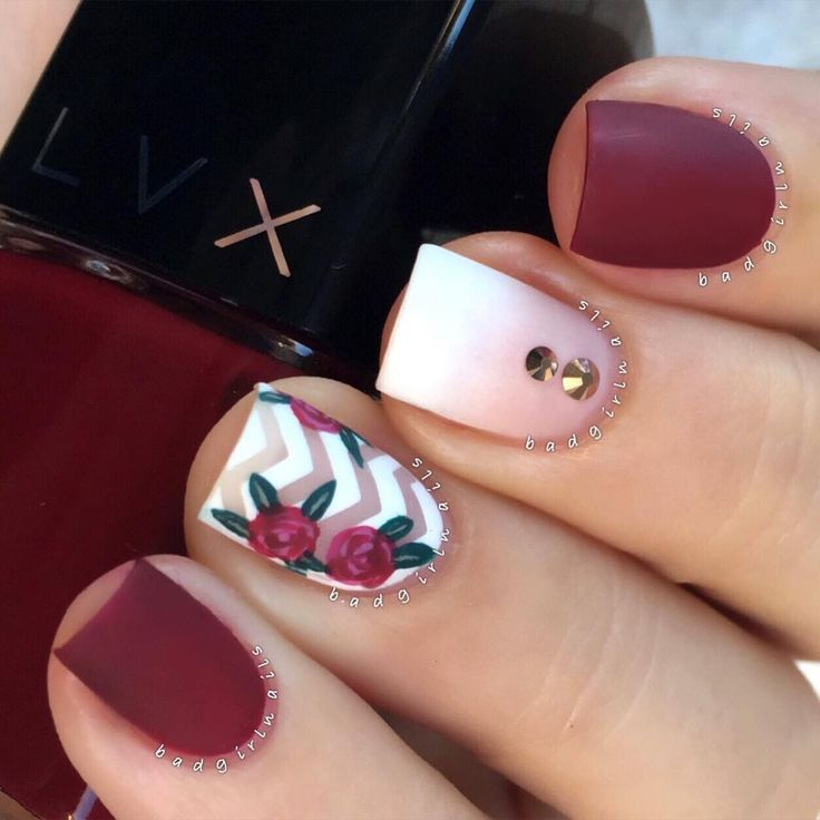 chic nails / mixed nailart @badgirlnails: matte burgundy red, ombre french with double rhinestones, chevron with florals / roses