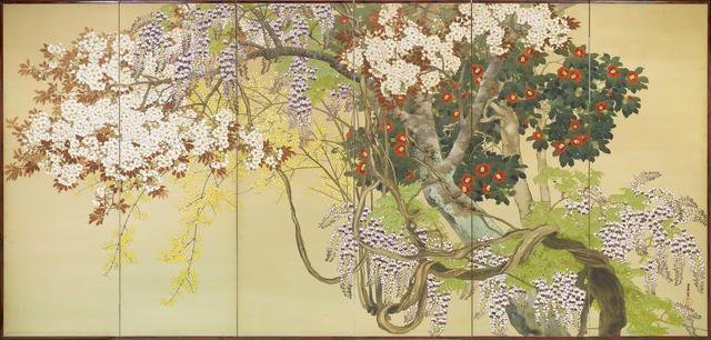 Komuro Suiun (1874-1945) Namga School, Late Meiji/early Taisho period. Spring, Spring flowers and trees including Fuji (wisteria), tsubaki (camellia) sakura (cherry blossem and rengyo (golden bells)