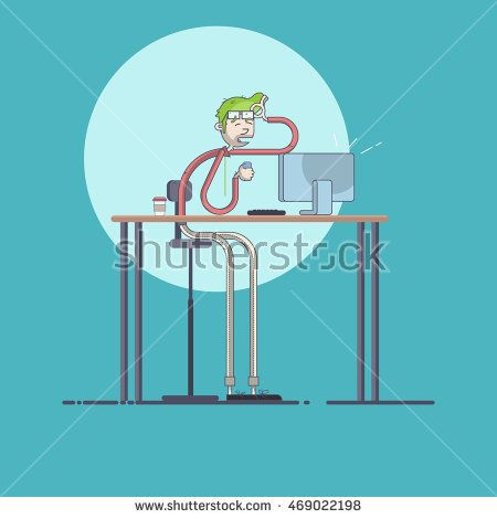 Young businessmen got message. Vector illustration modern flat and line style