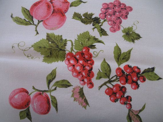 1940's Linen TableclothPrinted Pink Fruit by SusieQsVintageShop, $35.00