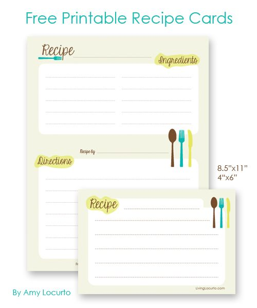 Free Printable Recipe Cards! 4x6 or Letter sized for a 3 ring binder.