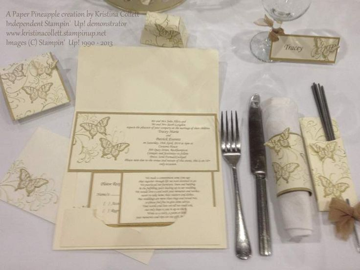 """""""Golden butterflies"""" setting features a DL sized invitation which opens up to A4 with matching stamped envelope and belly band, RSVP card, wishing well card, wine tag place card, napkin ring, bonbonniere box and sparkler holder. Available in a range of colours to suit your event"""
