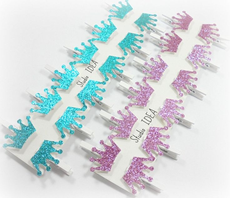 Set of 12 or 24 white Mini Clothespins with Glitter Teal, Glitter Pink Crown…