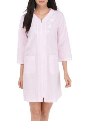 Miss Elaine Women's 3/4 Sleeve Striped Short Robe - Pink Stripe - Xl