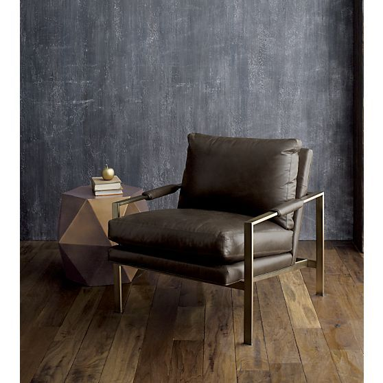 Milo Classic Leather Brass Lounge Chair   Crate and Barrel