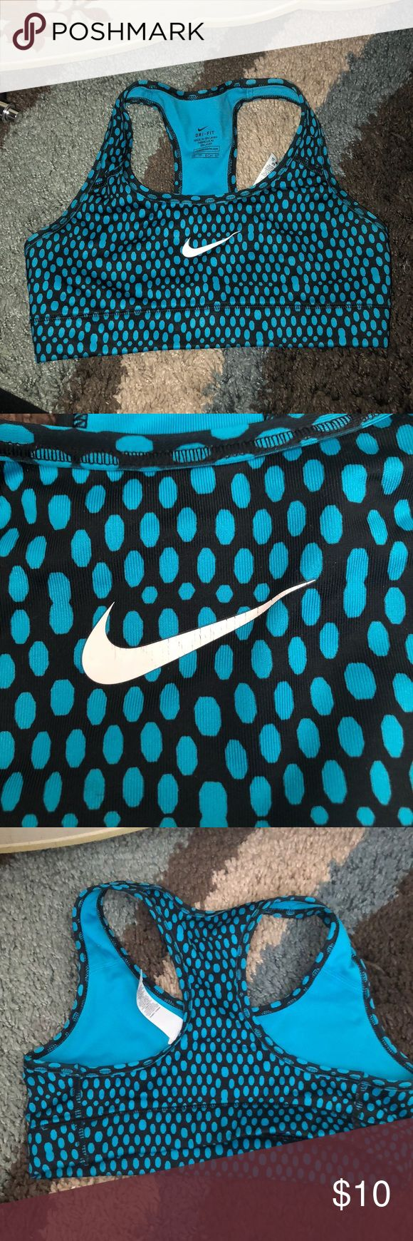 mike sports bra polka dot blue and black nike sports bra nike check has small cracks in but not noticeable FEEL FREE TO MAKE OFFERS Nike Intimates & Sleepwear Bras
