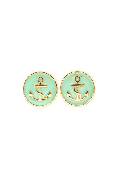 #Mint #Nautical #Anchor #Earrings