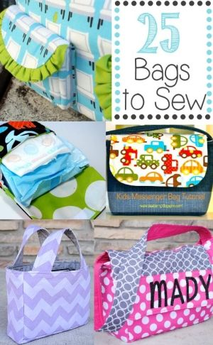 Free bag sewing patterns. These are great for wee ones who like to carry all their books and toys everywhere!