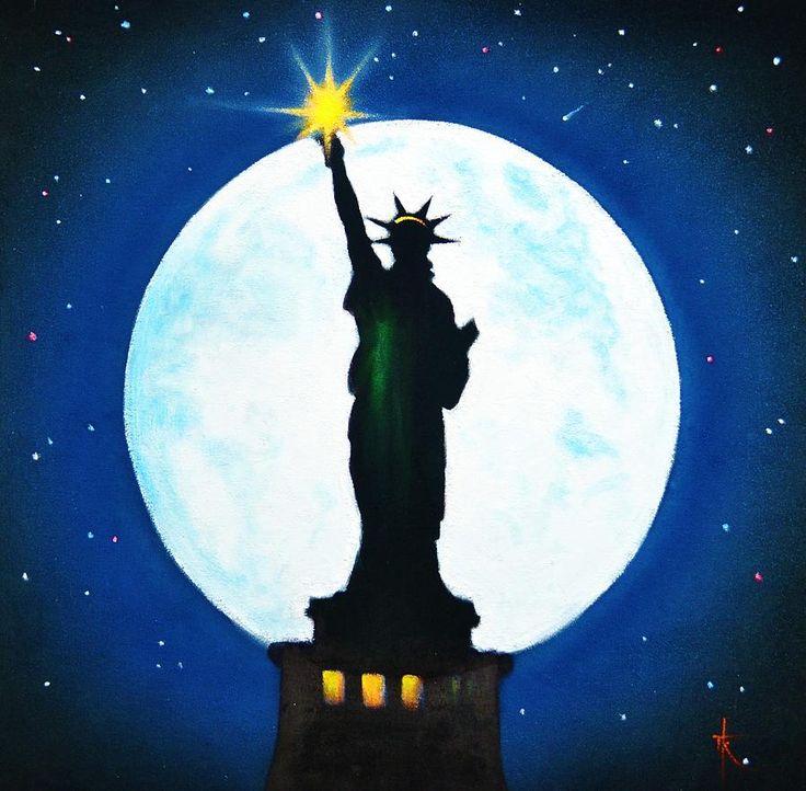 Artist: Thomas Kolendra  Title: Statue Of Liberty   Process: Fluorescent paints   Size: N/A  Year 2012