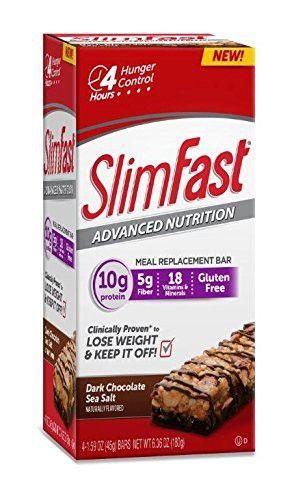 Slim Fast Advanced Nutrition Meal Replacement Bar, Dark Chocolate Sea Salt Nut, 4 Bars, 1.59 oz. each