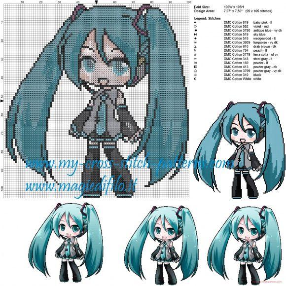 Hatsune Miku (Vocaloid) grille point de croix                              …