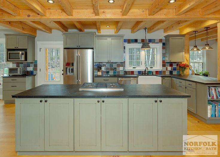 Rustic Green Kitchen With Soapstone   Norfolk Kitchen U0026 Bath