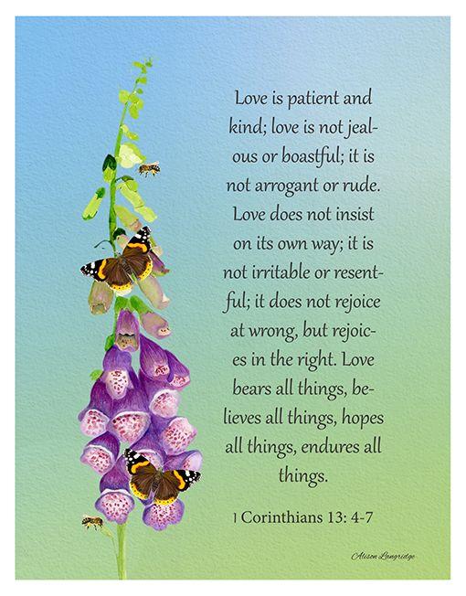 1 Corinthians 13: 4-7 Love Scripture                                                                                                                                                      More