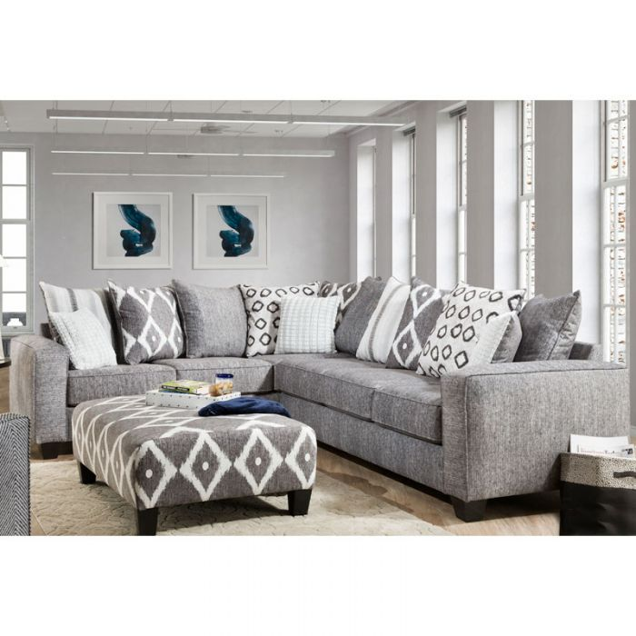 Viewpoint 2 Piece Modern Gray Sectional Home Living Room Living