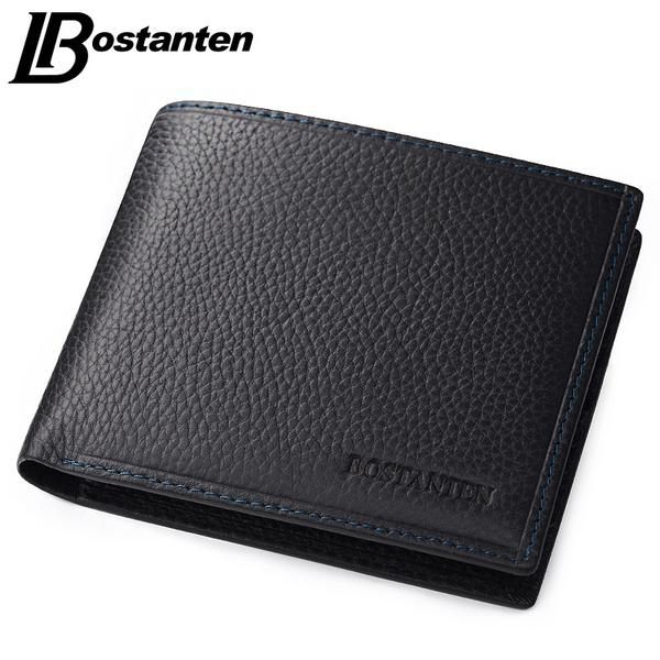 Bostanten 100% Genuine Leather Mens Wallets Luxury Men Wallets Purse Brand Wallet Black Card Holder Coin Business Bifold Wallet - The Big Boy Store