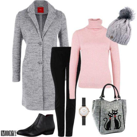 ružový-rolák-sivý-kabát-hodinky-čiapka-kabelka-topánky-dámske-čierne-nohavice
