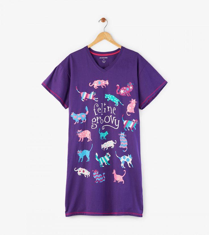 Feline Groovy Women's Sleepshirt | Little Blue House by Hatley UK