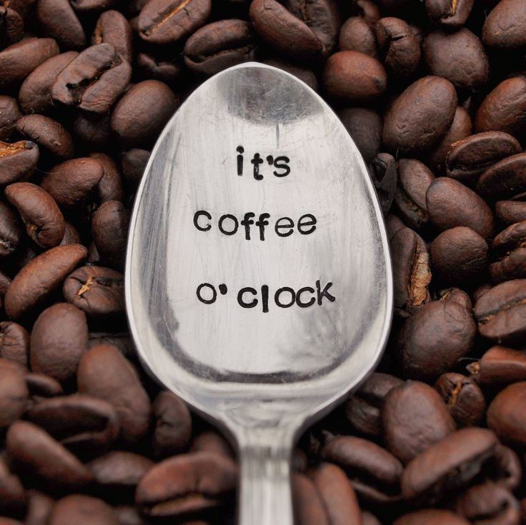 It's Coffee O' Clock - Hand Stamped Vintage Coffee Spoon